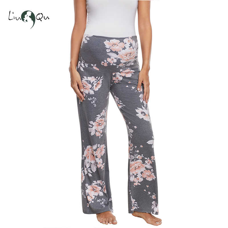 4be9df1f086e9 Cotton Women's Maternity Wide Leg Pants Versatile Comfy Palazzo Lounge  Pants Stretch Pregnancy Trousers Cotton Mama