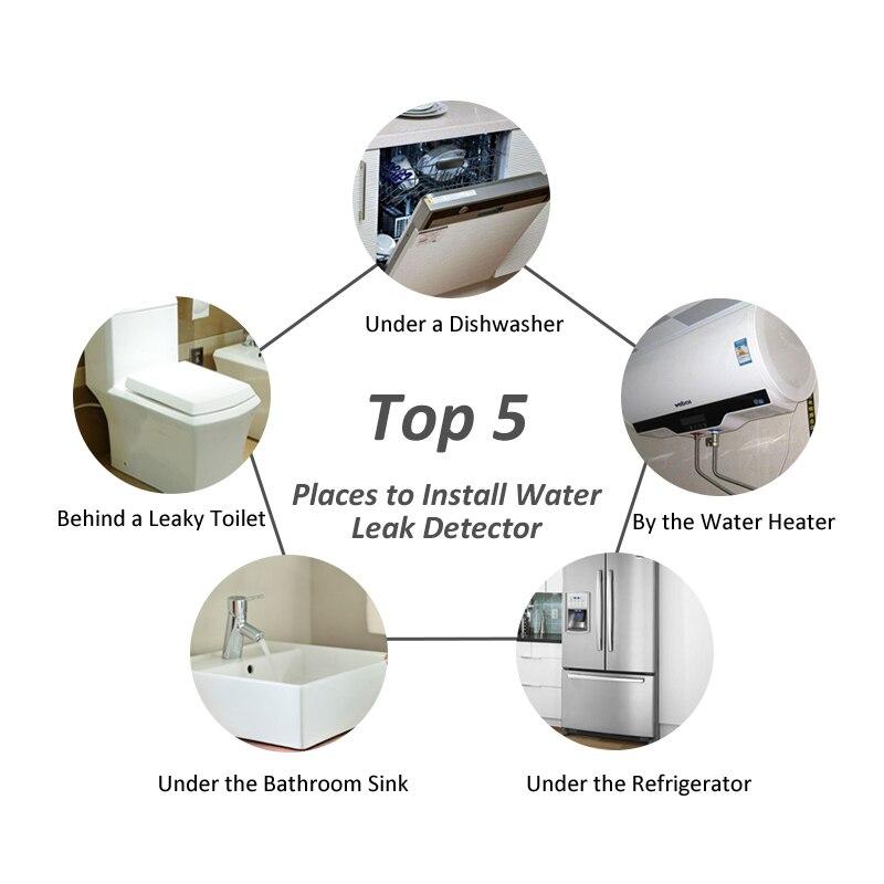 Детектор утечки воды с 2 шт 1/2 DN15 латунные клапаны для кухни дома умный датчик утечки воды Обнаружение перелива потока 2019 - 6
