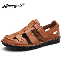 DJSUNNYMIX Men Sandals Leather Gladiator Handmade Summer Casual Shoes Soft Comfortable Flip Flops Fashion Brand Beach Shoes