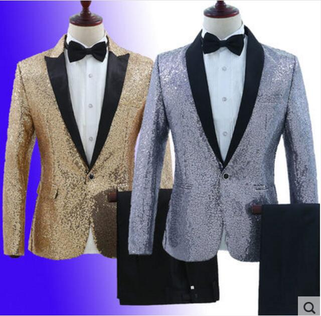 4d6db190f8f2e Sparkly Sequins Silver Or Gold Jacket Pant Plus Size Men s Suits Set  Nightclub Glisten Costume Stage Men Singer Blazer Pant-in Suits from Men s  Clothing on ...