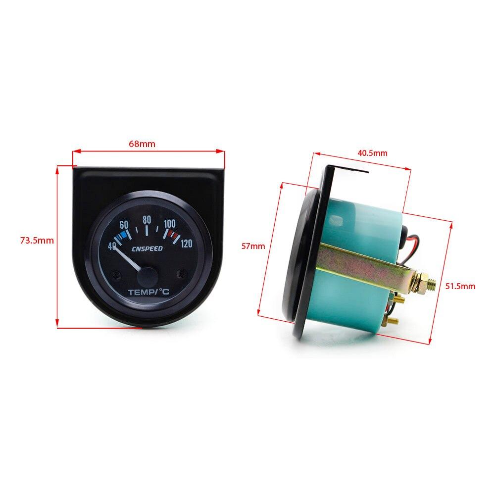Image 5 - CNSPEED 52 millimetri di Acqua Auto Temperatur Calibro di  Automobile Meter Temp nero Viso Pannello Auto temperatura dellacqua del  Tester del Calibro di YC101261-in Indicatori di temperatura acqua da  Automobili e motocicli su