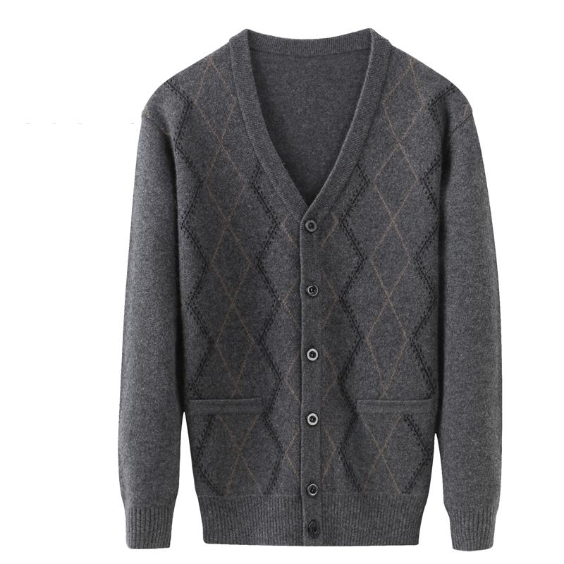 Wool Sweater Coat Cardigan V-Neck Cashmere Thick Male Autumn Men's Winter Casual High-Quality