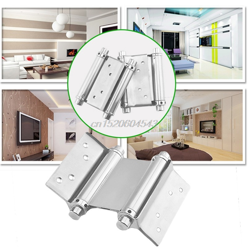2Pcs 3 Inch Stainless Steel Double Action Spring Hinge Saloon Cafe Door Swing Household R06 Drop Ship 8 inch stainless steel double action concealed door silver spring hinges for saloon cafe door shop swing door 2pcs