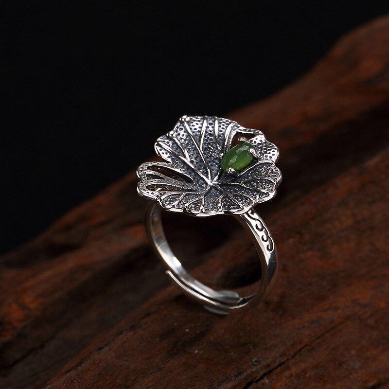Винтаж ювелирные изделия Ретро яшма 100% серебра 925 пробы ручной работы лотоса кольцо для Для женщин Открыть манжеты дамы кольца ...