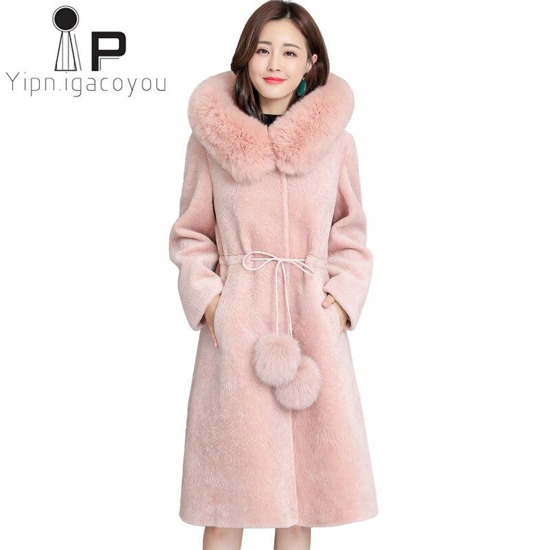 Fox Fur Collar Hooded Faux Fur Coat Women Winter Long Fake Fur Jacket Women Overcoat Plus size Elegant Thick Warm Outwear Female
