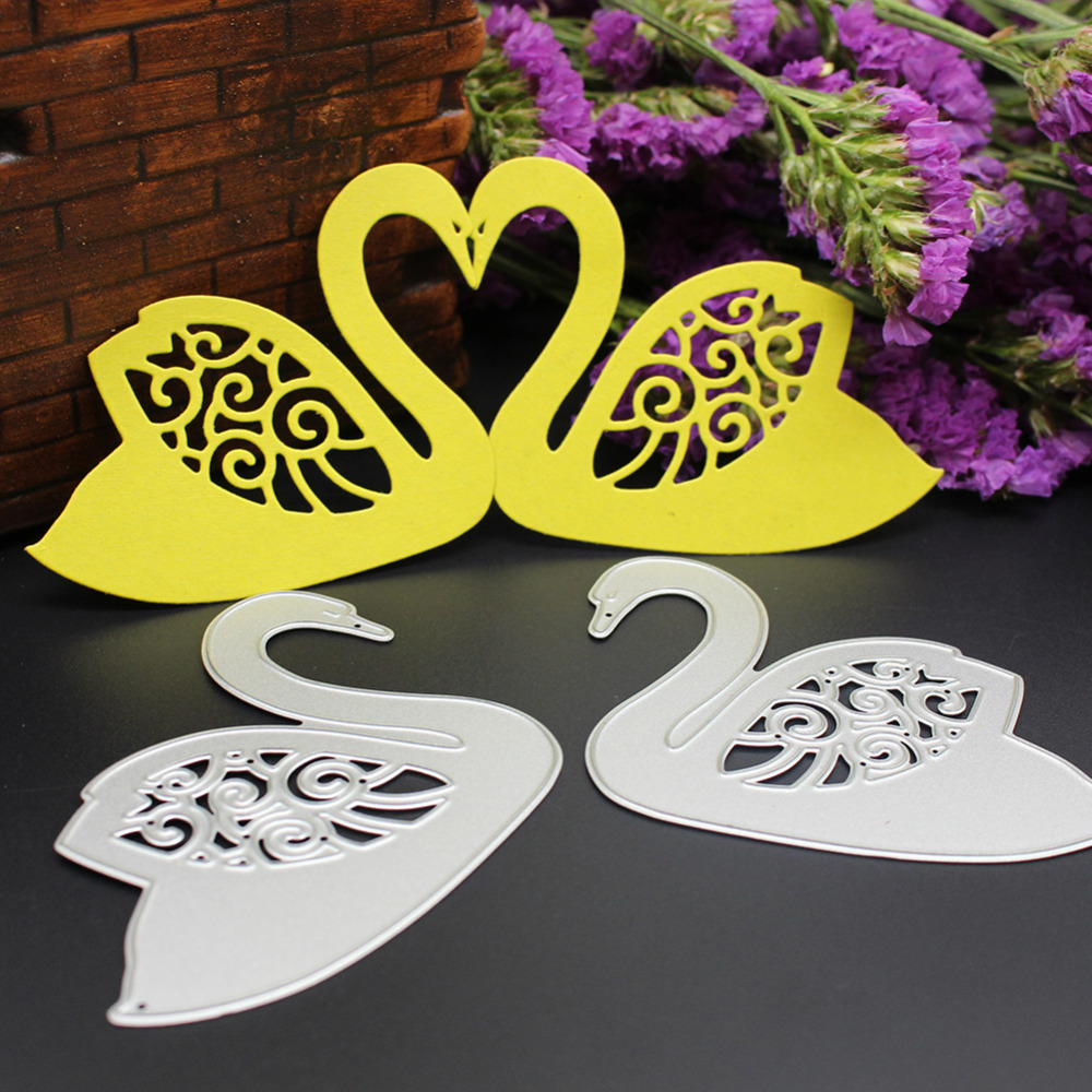 152x60mm scrapbooking Cute swan love shape DIY Metal steel cutting die sweet wedding Book photo album art card Dies Cut