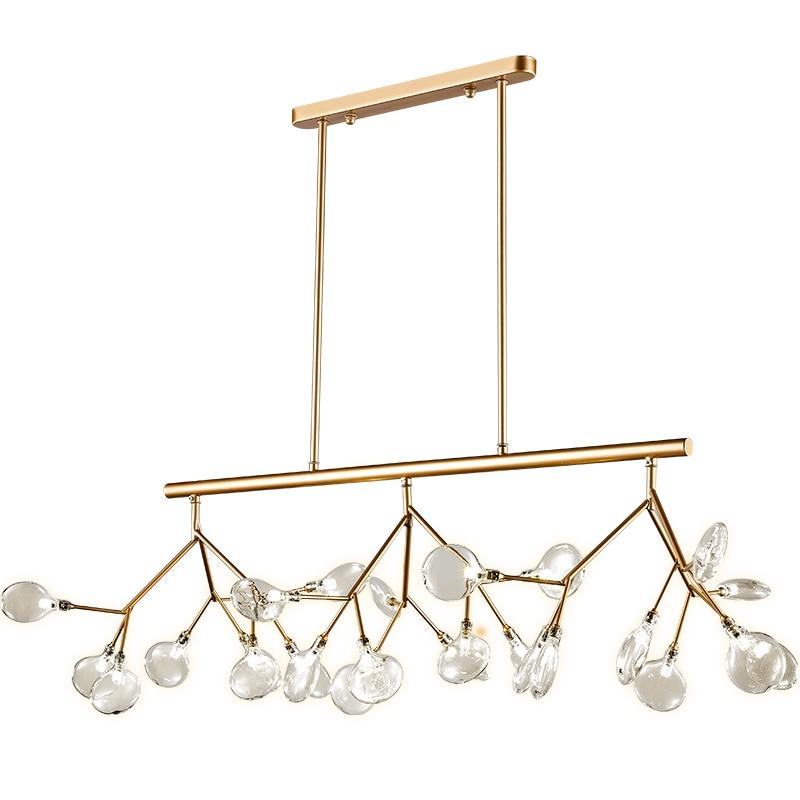 Suspension en verre nordique Art créatif Designer lustre lumières feuille d'arbre 120 CM ampoule LED lampe suspendue éclairage à la maison