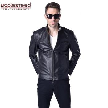 Genuine Leather Jacket Men Leather Coat 100% Sheepskin Cowhide Skin Black Bomber Motorcycle Biker Men's Coat Autumn M033