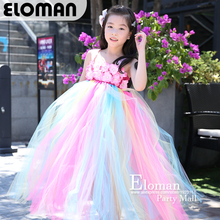 Eloman 100% handmade tutu dress for girl birthday party princess rainbow flower girls dresses for wedding and event parties fashion green and pink rainbow flower fairy costume for girls birthday cupcake layered dresses