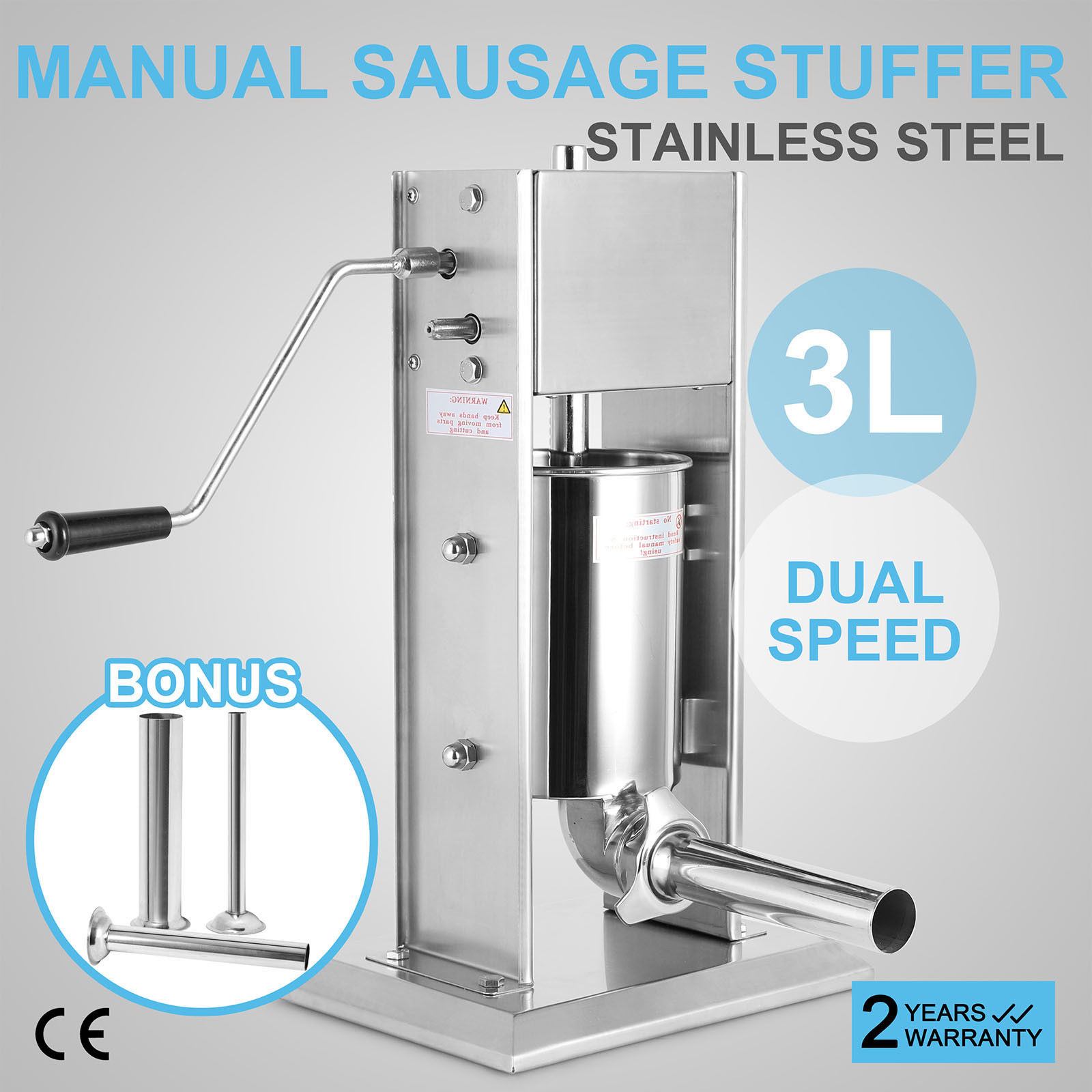3L Vertical Commercial Sausage Stuffer Two Speed Stainless Steel Meat Press3L Vertical Commercial Sausage Stuffer Two Speed Stainless Steel Meat Press