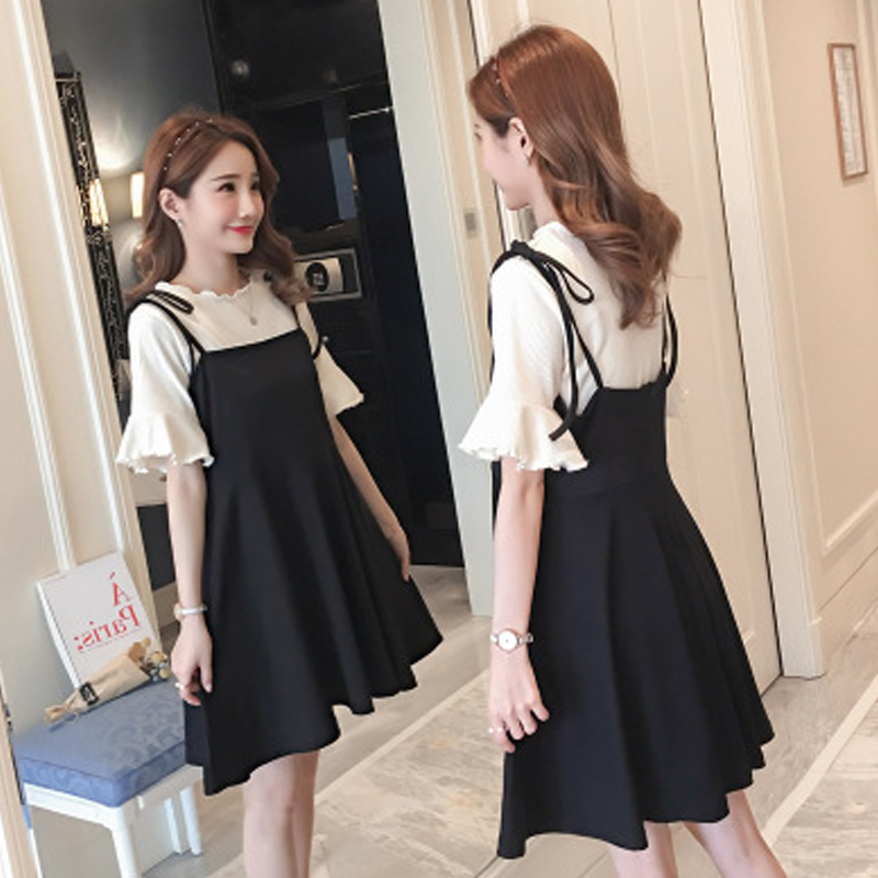 Maternity Clothes New Summer Fashion Small Fresh Short Sleeve + Suspenders Dress Pregnant Women Two Pieces Set Pregnancy Dresses