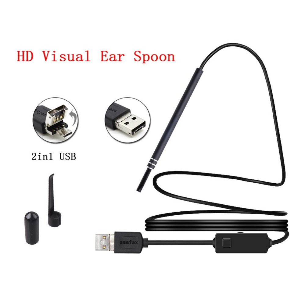 LESHP Multifunctional Endoscope Earpick 2-in-1 USB Ear Cleaning HD Visual Ear Spoon With Mini Camera Ear Cleaning ToolLESHP Multifunctional Endoscope Earpick 2-in-1 USB Ear Cleaning HD Visual Ear Spoon With Mini Camera Ear Cleaning Tool