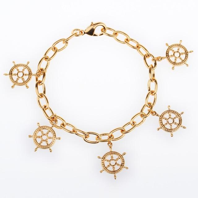 Żółty złoty kolor duże Rolo łańcuch związany zawieszki steru bransoletka dla kobiet przyjaźń bransoletka Boho biżuteria Pulseira Masculina