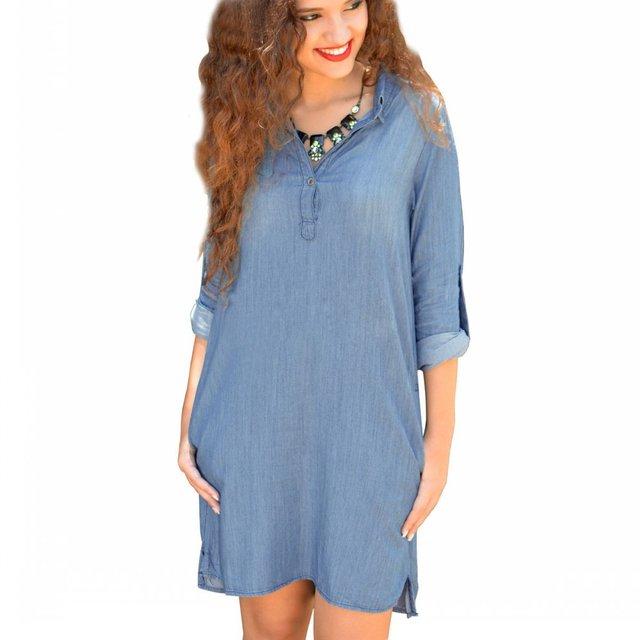 2016 Fashion Women Dress Jean Brand Patchwork European Style Women Clothing  Plus Size Work Wear Office Casual Dress Vestidos ed7e67d6d58d