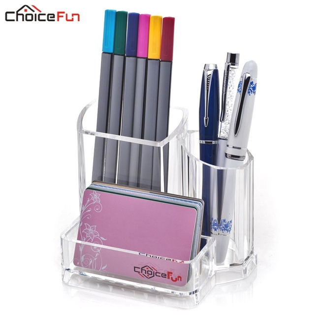 CHOICEFUN Cute Acrylic Stationery Pencil Pen Card Holder Office Supplies  Desk Accessories Organizer Organization For Business