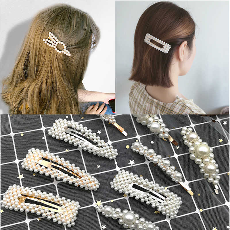 Korea Pearl Hair Clip Metal Hairclips Women Cute Rabbit Headband Snap Hair Barrette Hair Accessories for Women Girls Best Gift