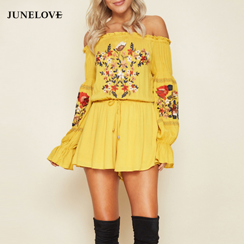 JuneLove 2018 Autumn Bohemian Romper Women Jumpsuit Floral Embroidery Slash Neck Playsuit Off Shoulder Female Casual Jumpsuit