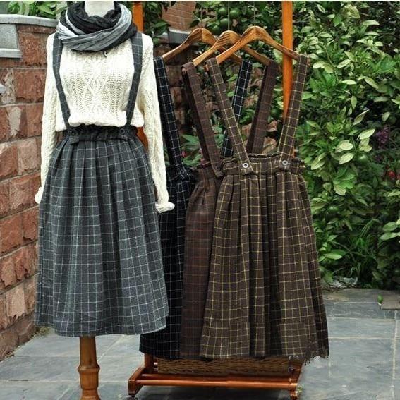 4 colors Vintage thickening mori girl plaid brace skirt belt autumn winter