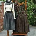 4 colors-- Vintage thickening mori girl plaid brace skirt belt  autumn  winter