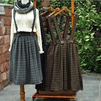 4 Colors Vintage Thickening Mori Girl Plaid Brace Skirt Belt Autumn Winter