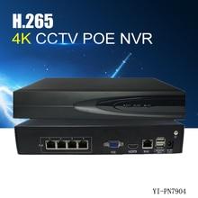 YiiSPO 4CH H.265 POE NVR play and plug 48V 802.3af 4K 5.0MP 1080P CCTV NVR video Security Remote view surveillance Onvif P2P