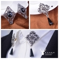 vintage tassel crystal small collar pin buckle male shirt collar clip buckle
