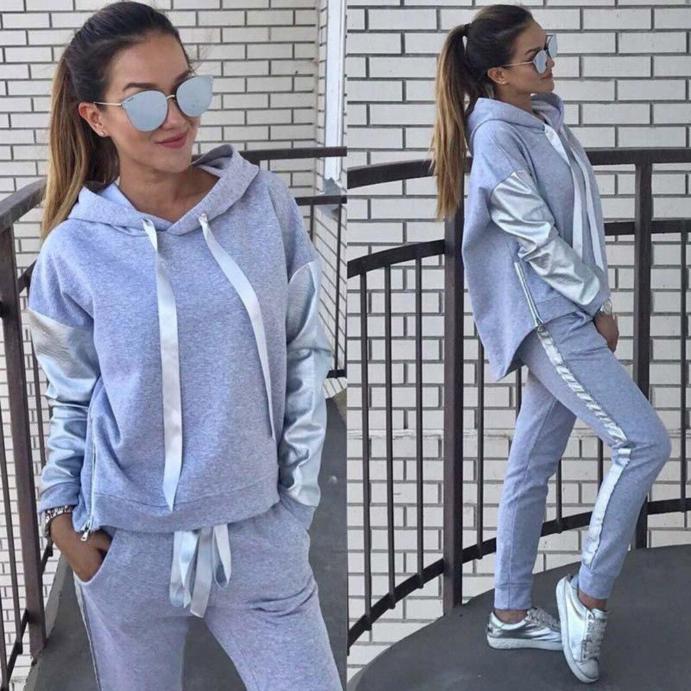 2Pcs Womens Tracksuit Cross Lace Up Hoodies Sweatshirt Top Pants Sets Sport Suit