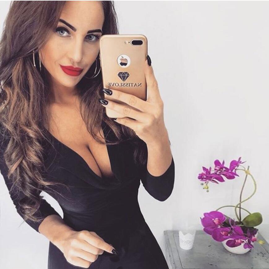 Hot long sleeve bodysuit women V-neck sexy fashion black pink khaki solid bodycon female body