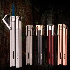 Image 1 - Compact Jet Lighter Gas Torch Turbo Flint Lighter Strip Windproof Metal Cigar Lighter 1300 C Butane Lighter Gadgets For Man