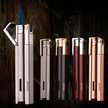 Free Shipping Compact Jet Lighter Gas Torch Turbo Lighter Strip Windproof Metal Cigar Lighter 1300 C Butane Lighter No Gas ultra thin compact torch lighter gas torch jet lighter gas window windproof metal pipe cigar lighter 1300 c butane lighter