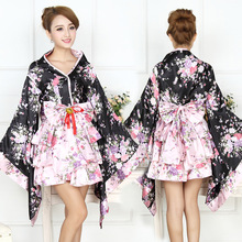 Women 6 Piece Set Japanaese Kimono With Obi Halloween Party Costume Print Flower Bath Robe Gown Sexy Cosplay Evening Dress