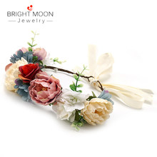 Bright Moon Wreath Roses Wicker Rattan Artificial Wreath Head Band Bridal Flower Crown Fashion Wedding Jewelry For Girls Gift(China)