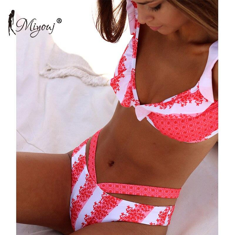 Miyouj Ruffle Bikini V-Neck Swimsuit Women Bathing Suits Backless Swimwear Hollow Out Biquini Thong Bikini Set Print Biquini