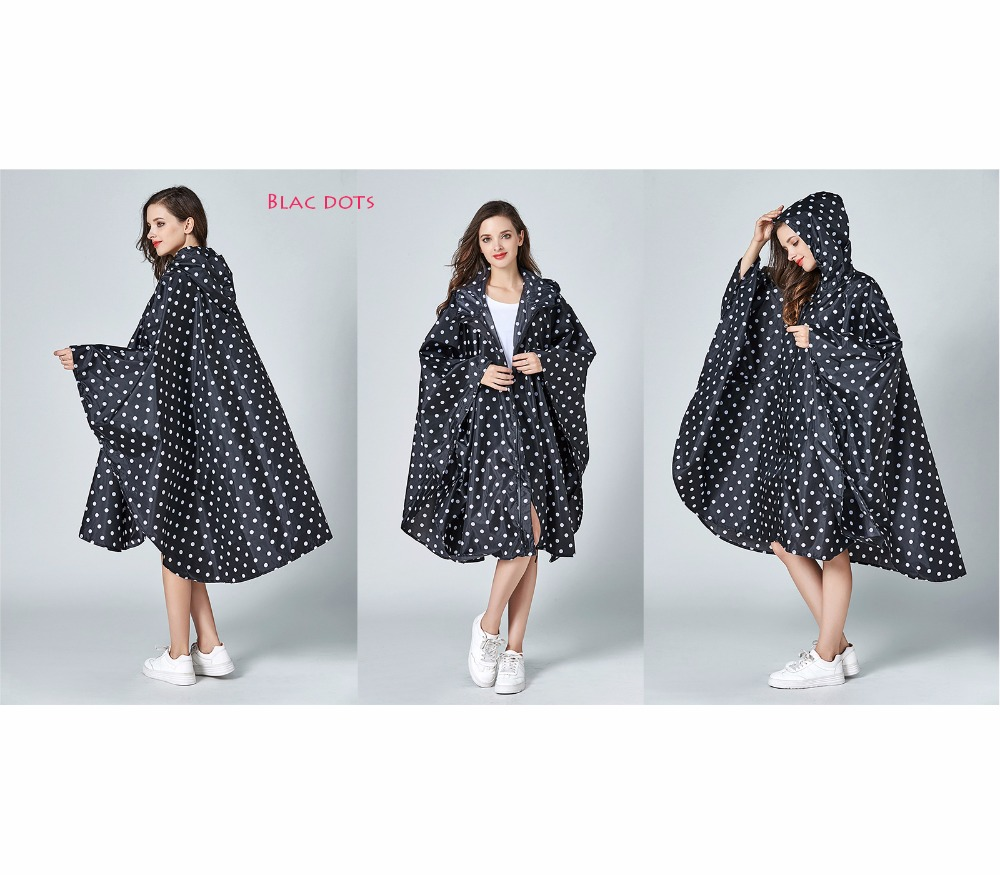 Womens Stylish Waterproof Rain Poncho Coloful Print Raincoat with Hood and ZipperWomens Stylish Waterproof Rain Poncho Coloful Print Raincoat with Hood and Zipper