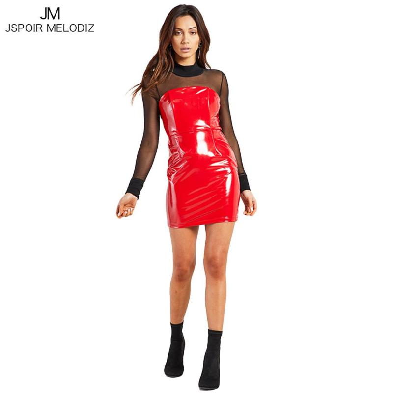 Sexy Nightclub PU Leather Dress Women Off Shoulder Backless Ladies Tube Top Dresses Black Red Women's Party Mini Vestidos Femme3