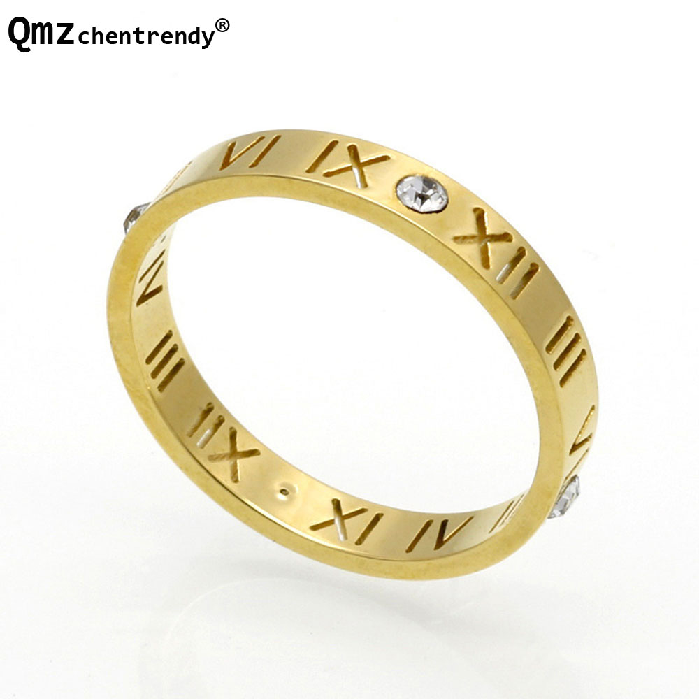 High Quality Stainless Steel Roman Numerals Finger Rings