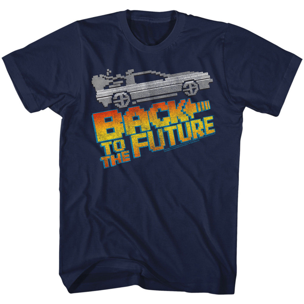 BACK TO THE FUTURE 8BIT TO THE FUTURE NAVY ADULT Short Sleeve T-Shirt Short Sleeve Fashion Summer Printing Casual