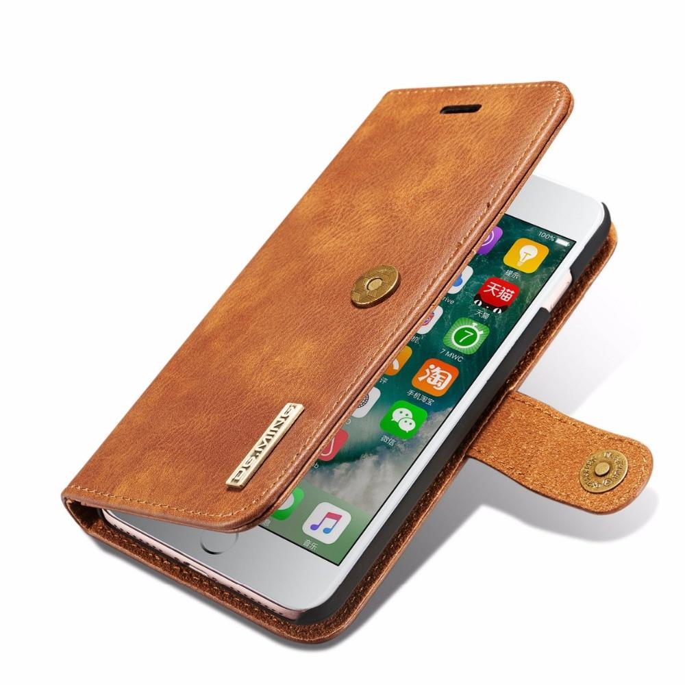 imágenes para Retro tirón magnético desmontable de cuero case fundas de la sfor iphone 6 6 s más casos para coque iphone 7 7 plus cubierta del teléfono de tarjeta ranura