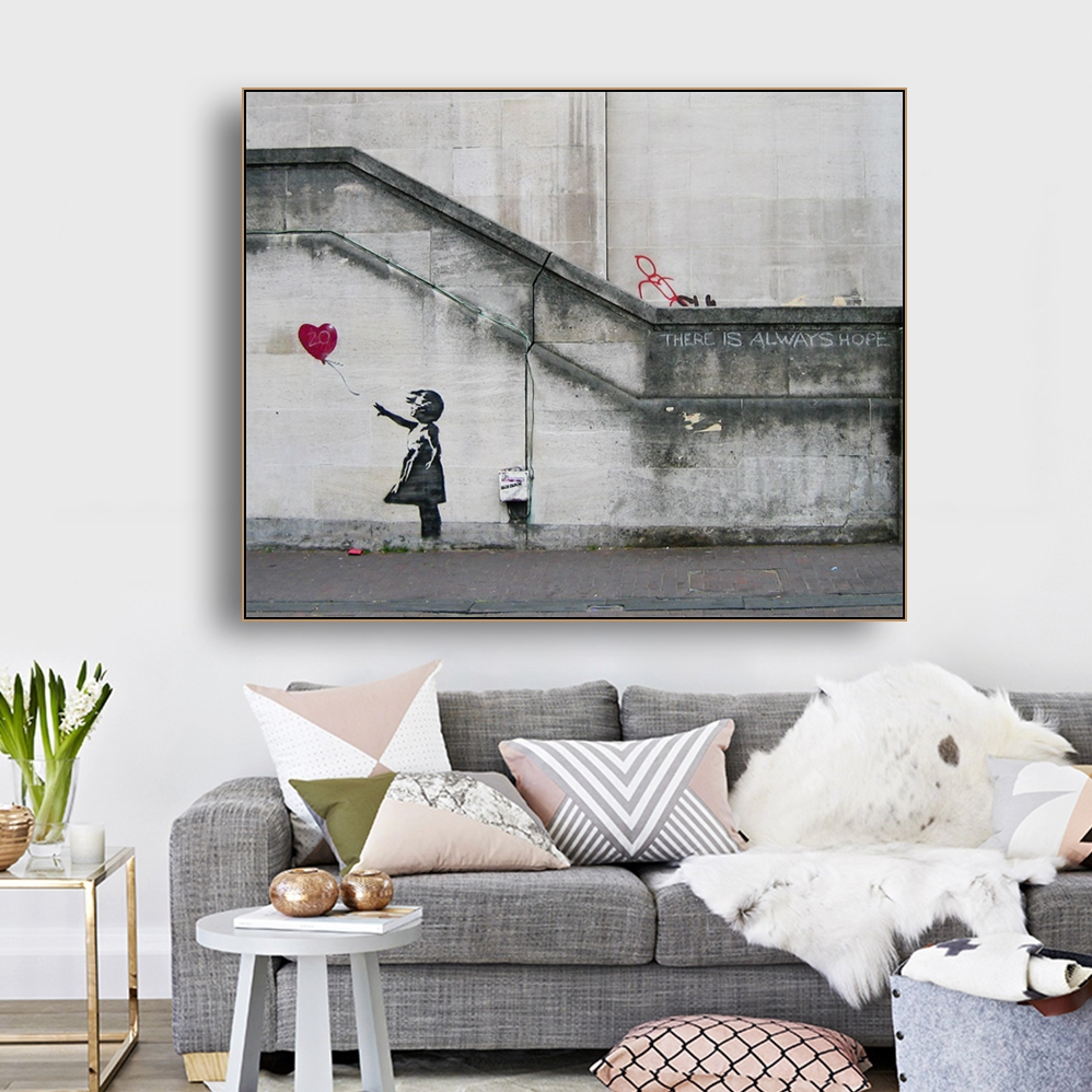 Girls And Balloons By Banksy Wall Art Decor Canvas Painting Calligraphy Poster Print Decorative Picture Living Room Home Decor