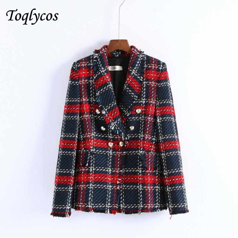 women chic plaid tweed blazer pockets fringe tassel long sleeve coat buttons decoration female casual outerwear tops 242