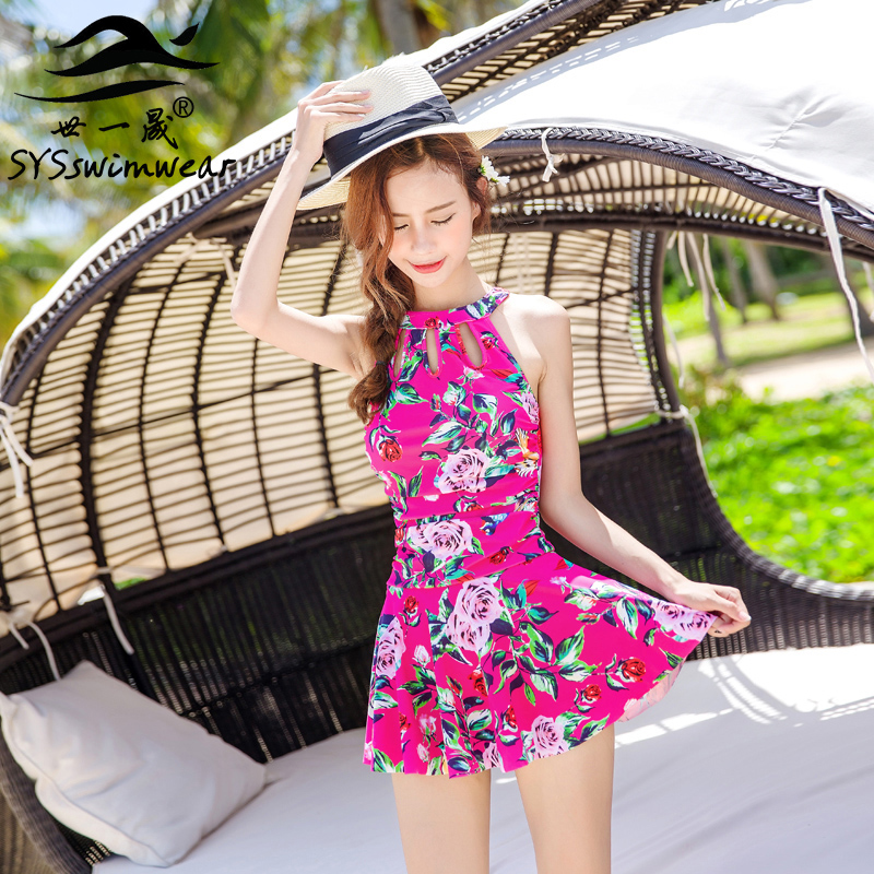 High quality Floral One Pieces Women Swimwear Top Neck Pleated Skirt Young Slender Ladies Pool Swimsuit Beautiful Bathing suit trendy solid color halter pleated one piece skirt swimwear for women