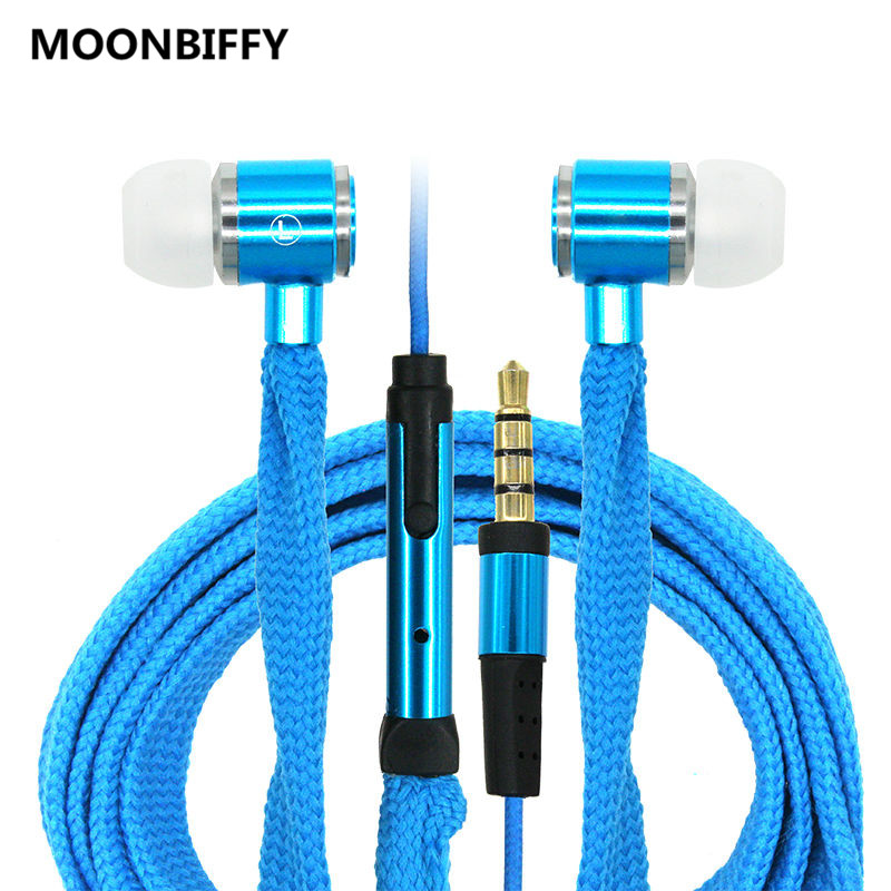 MOONBIFFY Shoelace Earphones Super Bass Headphones Stereo Music Headset Sports Running Earbuds Earphone With Mic for Phone PC image