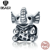 BISAER Authentic 100 925 Sterling Silver Mild Animal Long Nose Elephant Beads Charms Fit Original Pandora