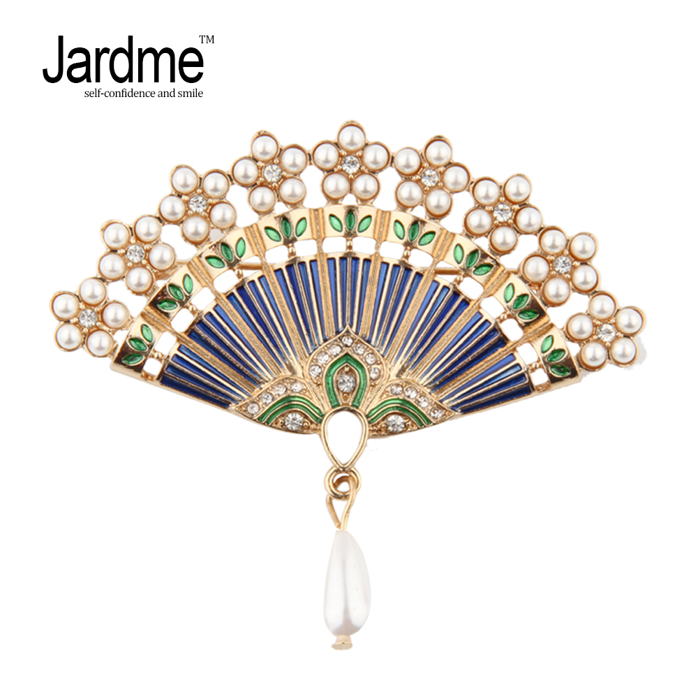 Jardme 2018 New Original Design Fan Brooches Color Enamel Pearl Chinese style Corsage Hijab Pin Collar Clip Apparel Accessory