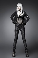 Punk New Arrival Women Black PU Leather Vintage Pants Summer Good Elastic Pants With Belt Female