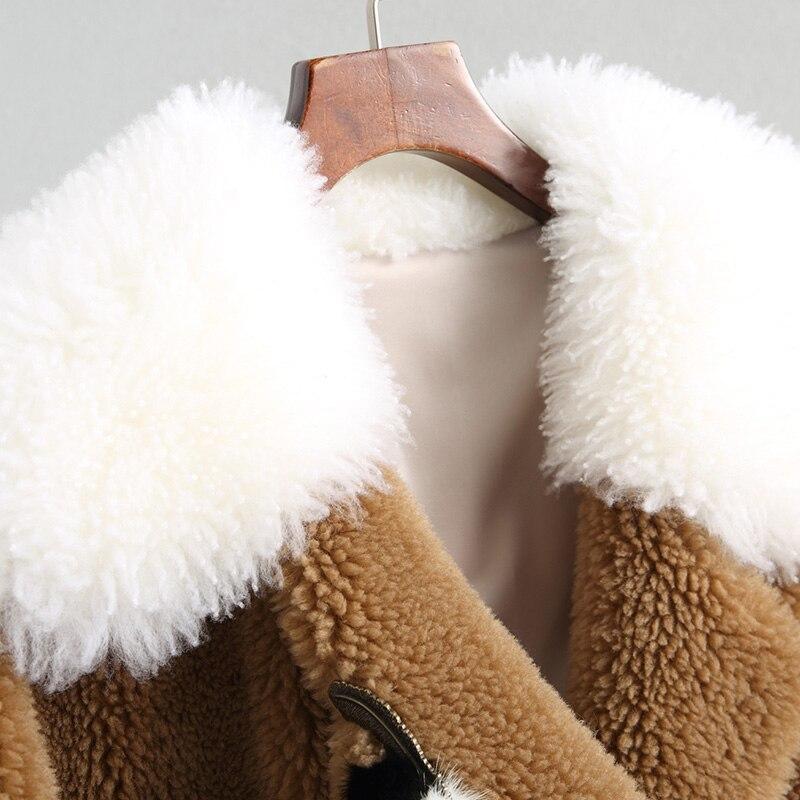 Qualité Supérieure Réel Laine Pour Show De Épais Agneau Et Long Naturel Manteaux Femelle 2018 As Turn Chaud Manteau down Femmes Fourrure D'hiver Collar Veste ExnS56