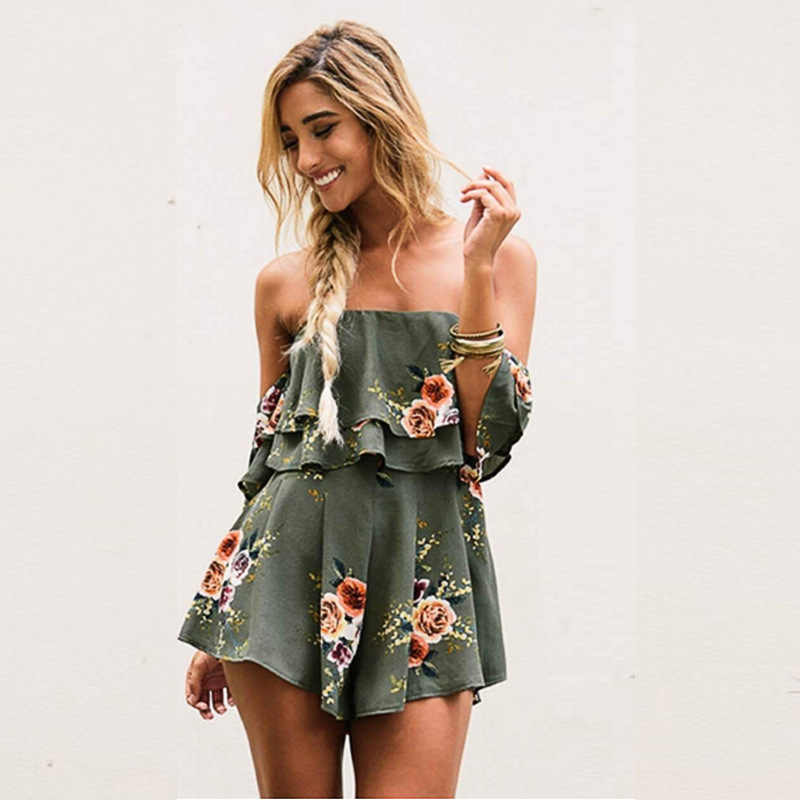 c367819317d Danjeaner Off Shoulder Boho Style Floral Print Playsuit Women Sleeveless  Rompers Elegant Sexy Beach Holiday Jumpsuits