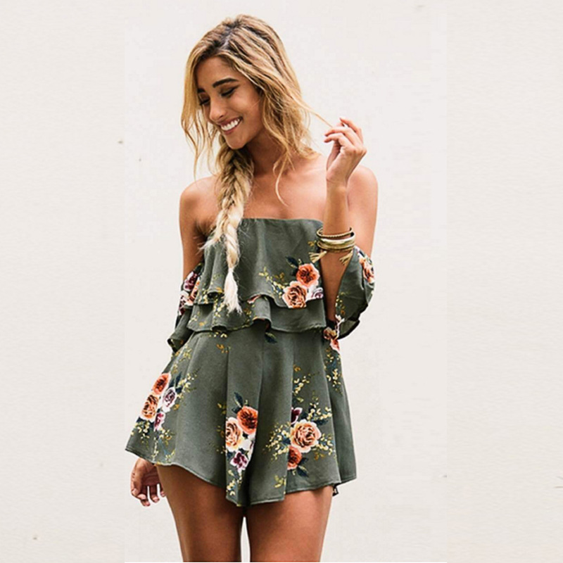 Danjeaner Off Shoulder Boho Style Floral Print Playsuit Women Sleeveless Rompers Elegant Sexy Beach Holiday   Jumpsuits   Overalls