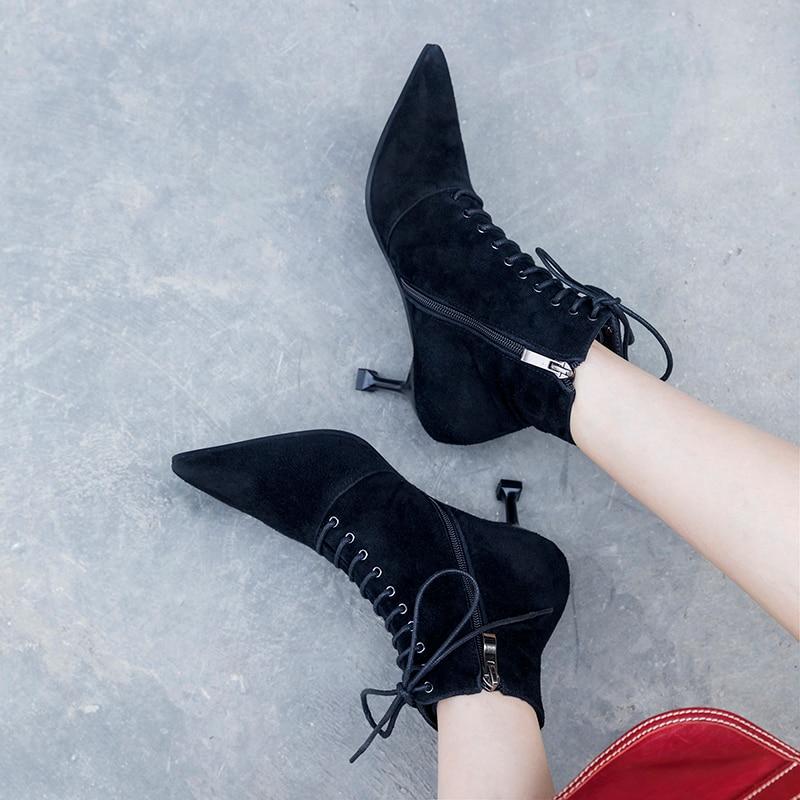 Bout Hauts Suède Chaussures Enfants Mince Femmes En Talons Cheville Pour Automne Nouveau Flock Véritable 2018 Pointu leather Esrfiyfe Bottes Femme Ou D'hiver Cuir qxTH6xYw