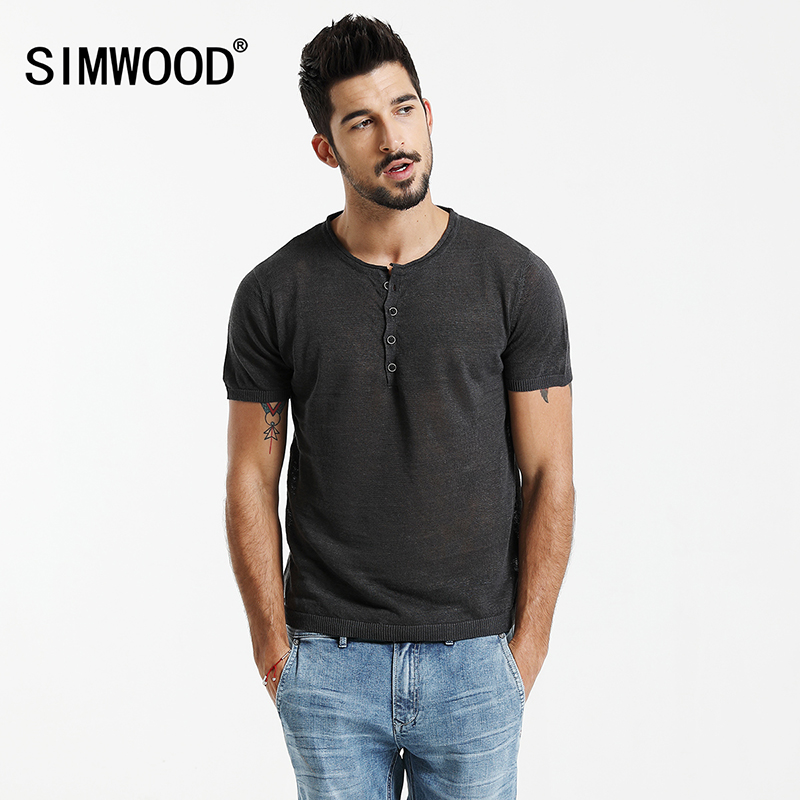 Simwood 2017 Summer T Shirts Men New 100 Linen Breathable